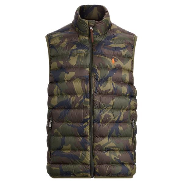 Ralph Lauren Camo Packable Down Vest Vintage Olive Camo Xs