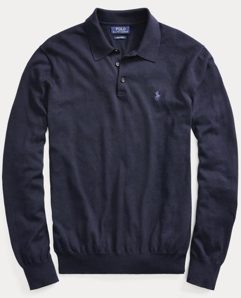 Polo-Collar Cotton Sweater