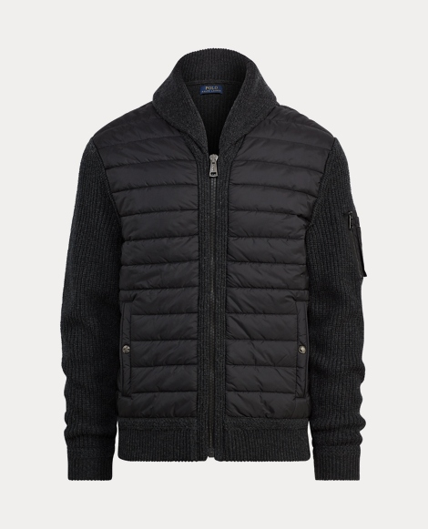 Paneled Full-Zip Sweater