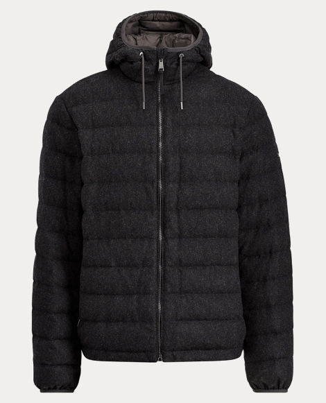 Wool-Blend-Flannel Down Jacket