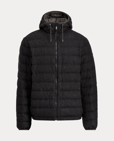 Wool-Blend-Flannel Down Jacket
