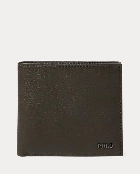 Metal-Plaque Leather Billfold