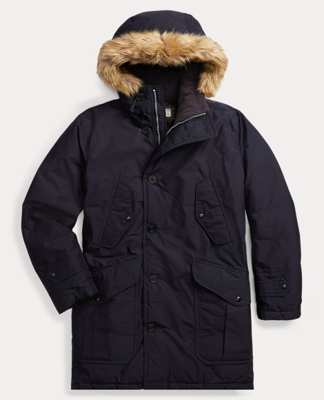 Indigo Cotton-Blend Down Parka