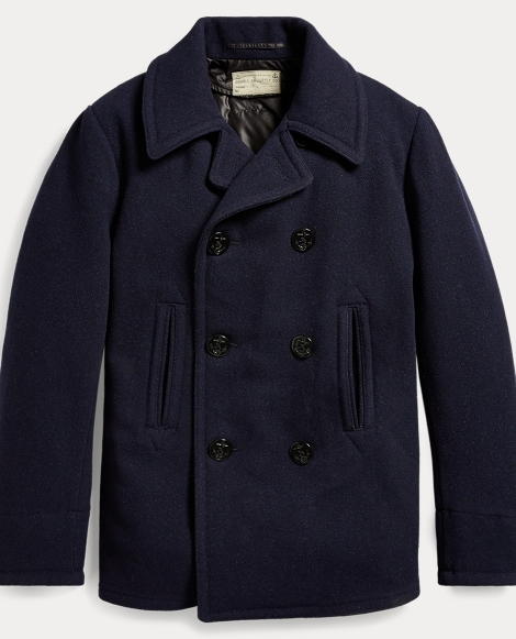 Wool-Blend Melton Peacoat