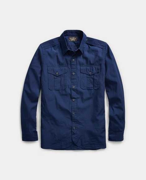 Indigo Cotton Military Shirt