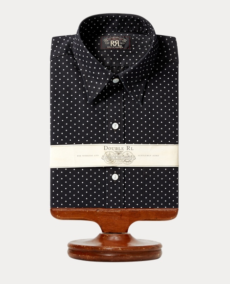 Indigo Polka-Dot Cotton Shirt