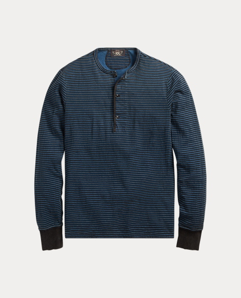 Indigo Striped Cotton Henley