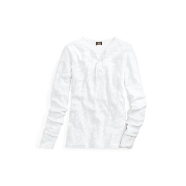 Ralph Lauren Waffle-Knit Cotton Henley Paper White 2