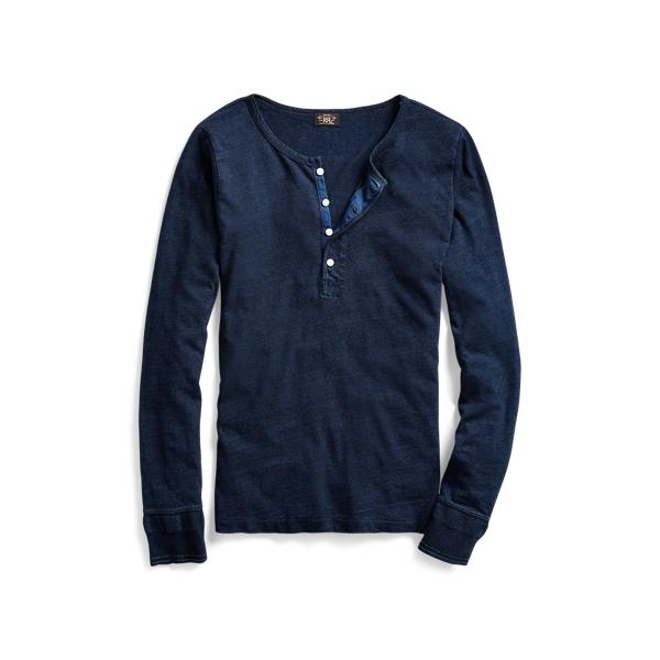 Ralph Lauren Cotton-Linen Jersey Henley Blue Indigo 1