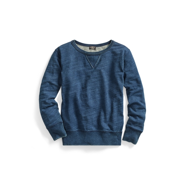 Ralph Lauren Cotton French Terry Sweatshirt Rinsed Blue Indigo 4