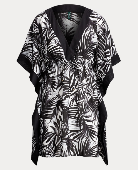 Palm-Print Voile Cover-Up