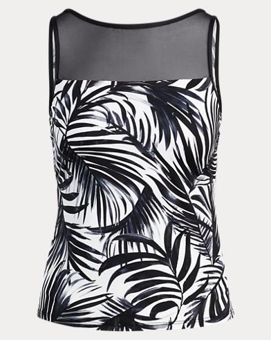 Mesh-Yoke Palm-Print Tankini