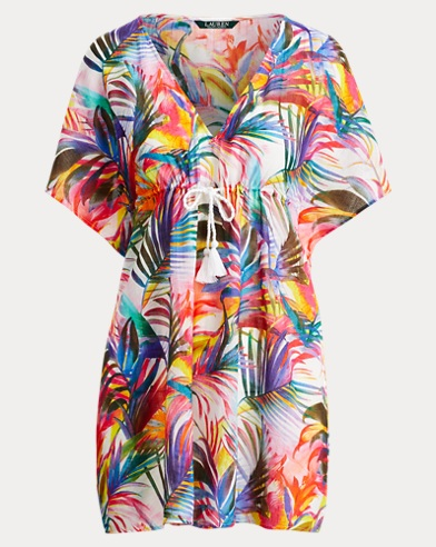 Palm-Print Cotton Cover-Up