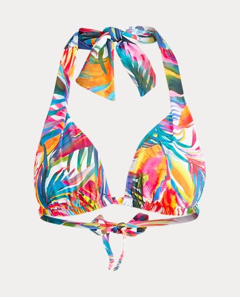 Palm-Print Halter Bikini Top