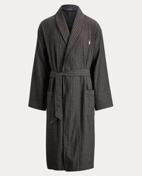 Pinstripe Cotton Flannel Robe