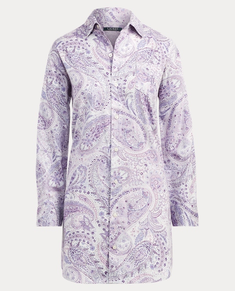 Paisley Sateen Sleep Shirt