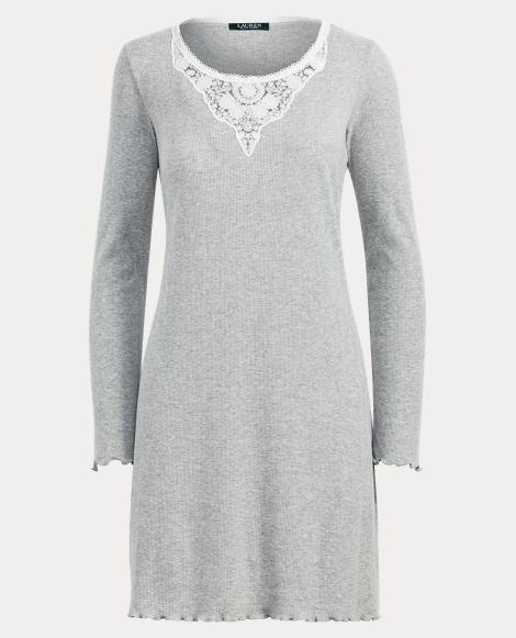 Lace-Trim Interlock Nightgown