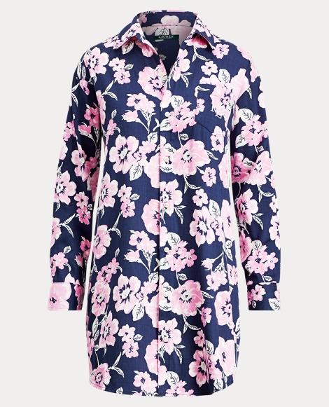 Floral Sateen Pajama Shirt