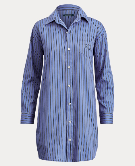 Striped Sateen Pajama Shirt