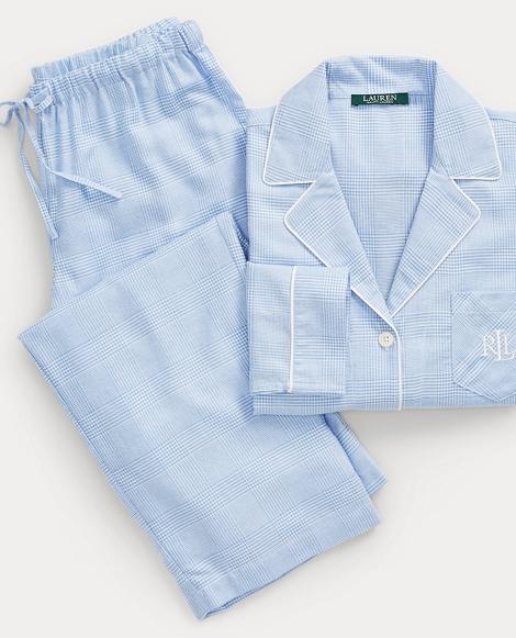 Plaid Cotton-Blend Pajama Set