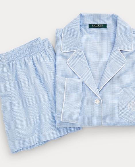 Plaid Pajama Short Set