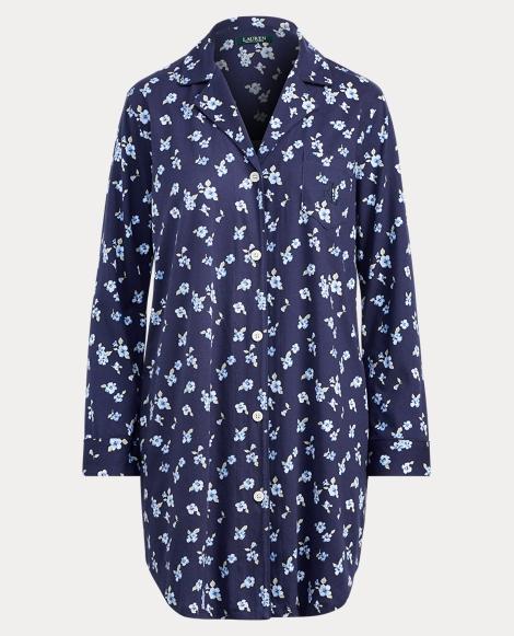 Floral Jersey Pajama Shirt