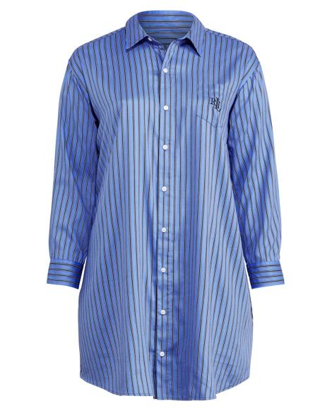 Striped Sateen Pajama Shirt