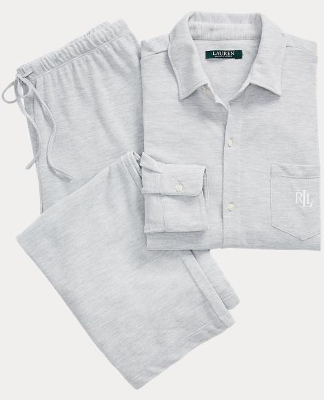 Heathered Jersey Pajama Set