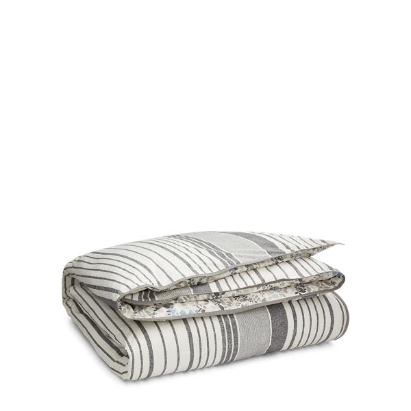 Ralph Lauren Devon Striped Comforter Set Cream And Charcoal Full / Queen