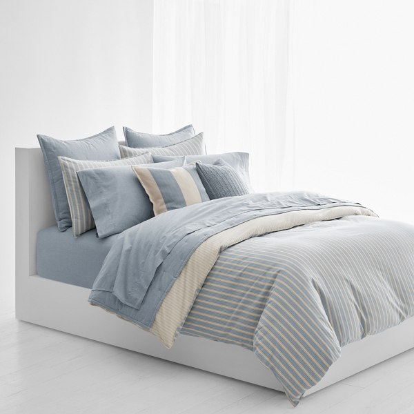Ralph Lauren Graydon Striped Duvet Cover Dune And Chambray Twin