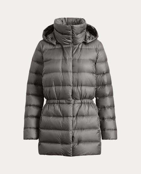 Hooded Funnelneck Down Coat