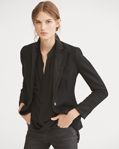 Beaded Merino Wool Blazer