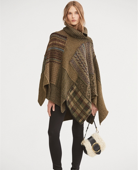 Patchwork Wool-Blend Poncho
