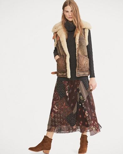 Floral Patchwork Chiffon Skirt