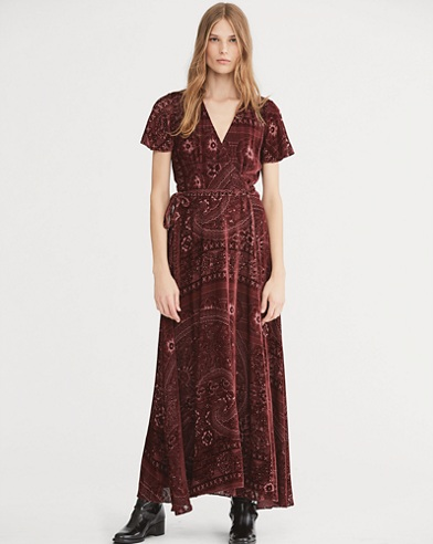 Burn-Out Velvet Wrap Maxidress