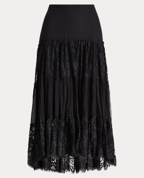 Tiered Chantilly Lace Skirt