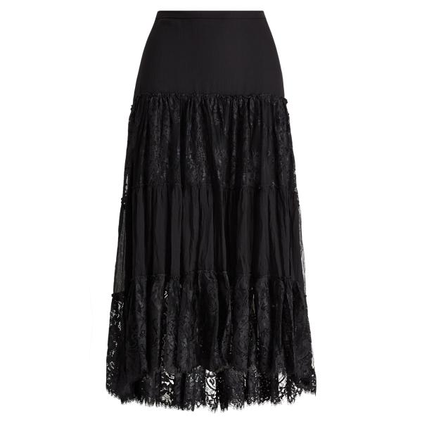 Ralph Lauren Tiered Chantilly Lace Skirt Black 2
