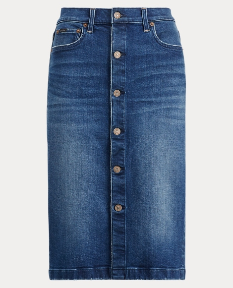 Buttoned Denim Pencil Skirt