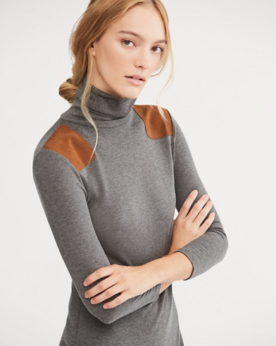 Suede-Trim Turtleneck Dress