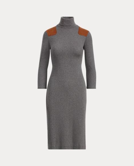 Suede-Trim Turtleneck Dress