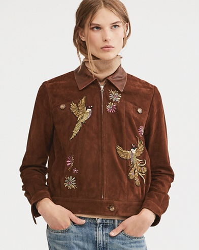 Embroidered Suede Jacket