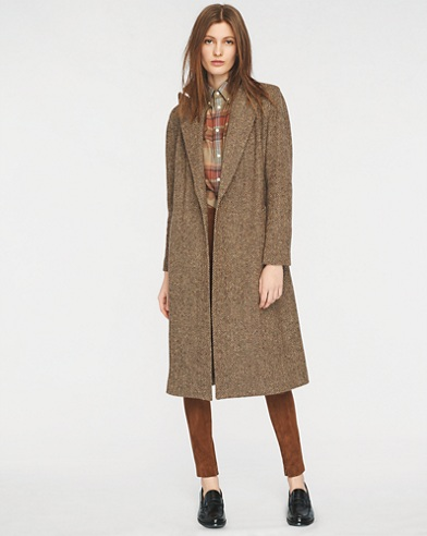 Donegal Tweed Open-Front Coat