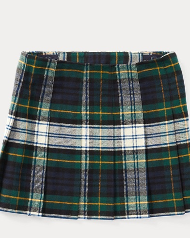 Tartan-Print Pleated Skirt