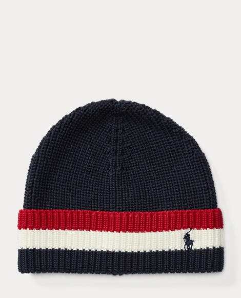 Striped-Brim Ribbed Cotton Hat