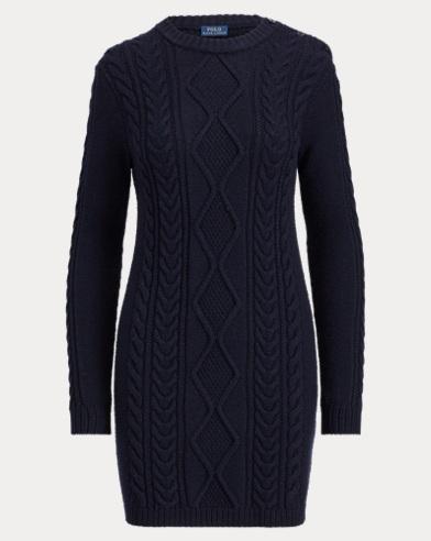 Aran-Knit Wool Sweater Dress