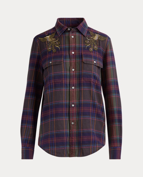 Relaxed Fit Plaid Bird Shirt