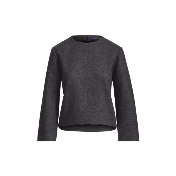 Ralph Lauren Boxy Wool-Blend Top Onyx Heather Xs