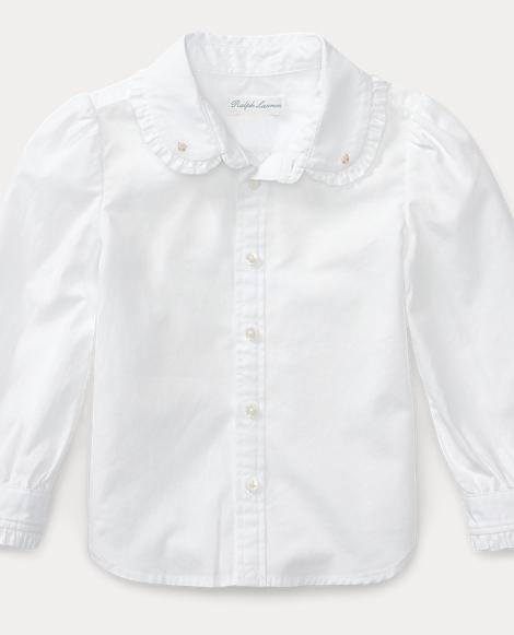Ruffle-Trim Cotton Shirt
