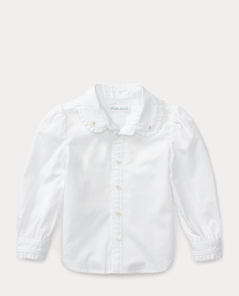 Ruffle-Trim Cotton Shirt