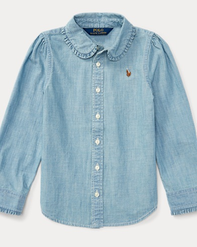 Ruffled Cotton Chambray Shirt
